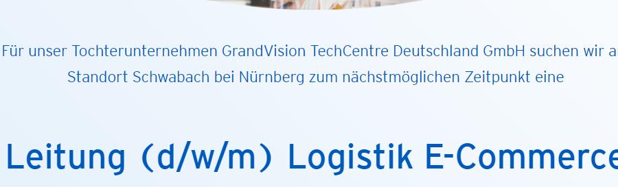 Stellenanzeige Apollo für Leitung (d/w/m) Logistik E-Commerce